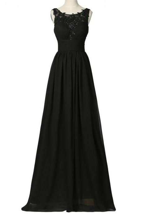 Fashion Black Bridesmaid Dresses,Elegant Long Lace Applique Prom Dresses, Floor Length Chiffon Wedding Party dresses, New Arrival Evening Gowns