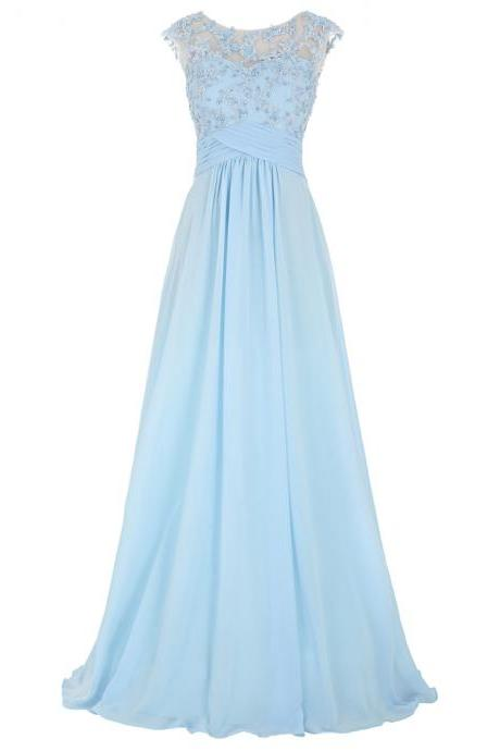 Sexy Women Beaded Formal Dresses Light Blue Evening Party Gonws With Illusion Bateau Neckline