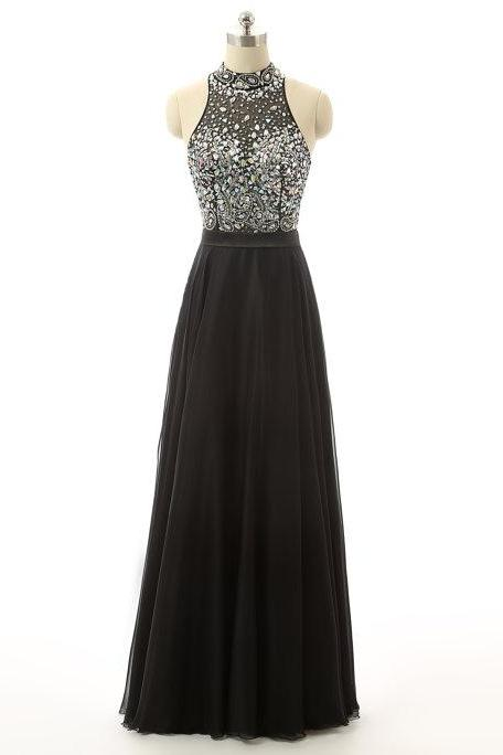 Black Halter Rhinestone Prom Dresses Featuring Beaded Bodice With Sheer Neck - Long Elegant Evening Formal Gowns
