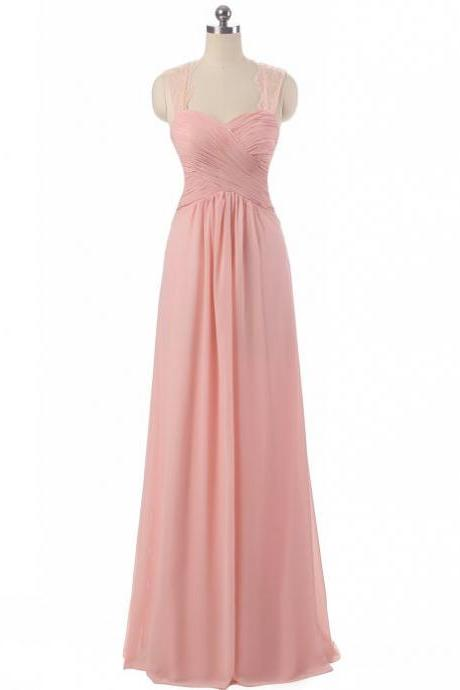 Pink Chiffon Prom Dresses Featuring With Lace Straps - Long Elegant Evening Formal Gowns