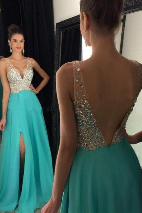 Sexy Backless Turquoise Prom Dresses Floor Length V Neck Chiffon A Line Evening Gowns