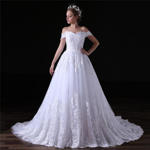 2018 Lace Applique Beaded Lace Applique Wedding Dresses Chapel Train Off The Shoulder Bridal Dresses