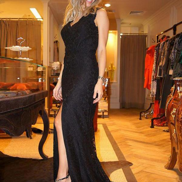 Sexy V Neck Lace Trumpet Black Prom Dresses With Side Split Backless Long Elegant Formal Evening Gowns