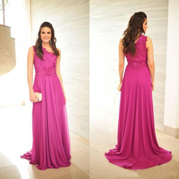 Sexy One Shoulder Beaded Prom Dresses Fuschia Chiffon Long Elegant Formal Evening Gowns