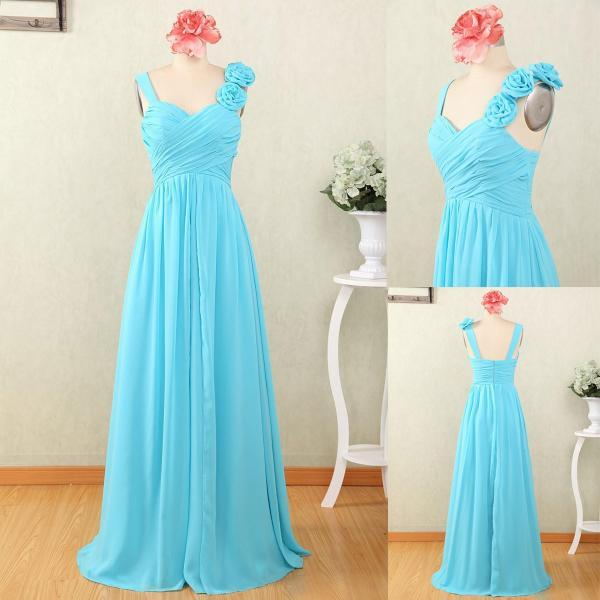 Sky Blue Spaghetti Straps Prom Dresses Featuring Floral Shoulder And Ruched Bodice Chiffon Long Formal Evening Gowns