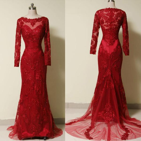 Burgundy Lace Appliques Tulle Trumpet Formal Dresses Featuring Long Sleeve And Sheer Bateau Neckline - Prom Dresses,Party Dress