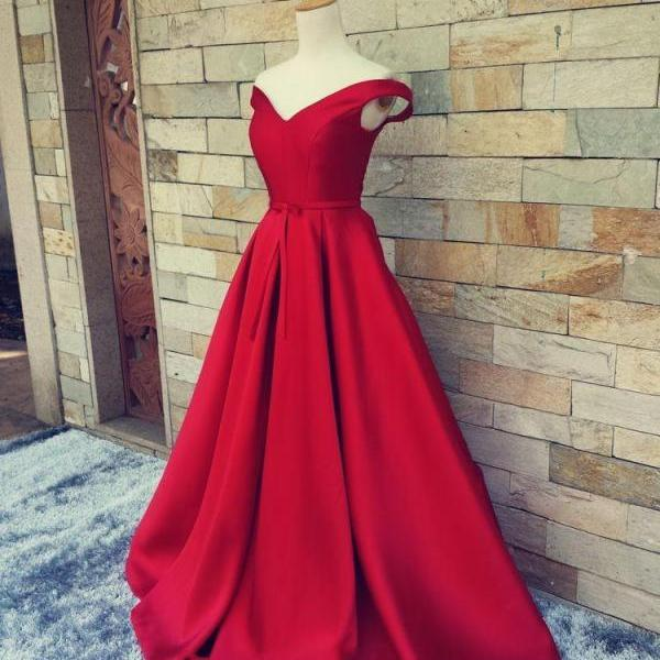 Red Satin A Line Formal Dresses Featuring Ruched Skirt And V Neckline - Prom Dresses,Party Dress
