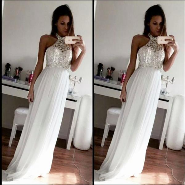 Sexy Women Beaded Formal Dresses White Chiffon Evening Party Gonws With Halter Neckline