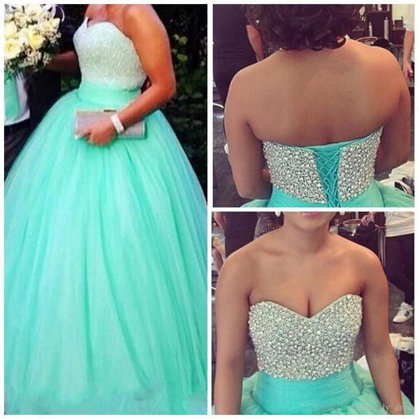 Charming Turquoise Tulle Ball Gown Prom Dresses Featuring Rhinestones Beaded Sweetheart Neckline - Long Elegant Evening Party Gonws