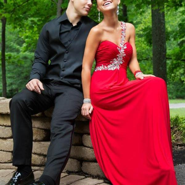 Red Rhinestones Beaded One Shoulder Chiffon Prom Dresses With Sweetheart Neckline - Long Elegant Evening Formal Gowns